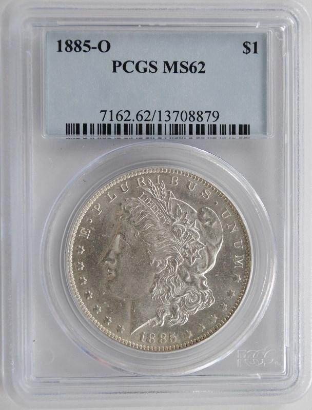 1885-O MORGAN SILVER DOLLAR PCGS MS62