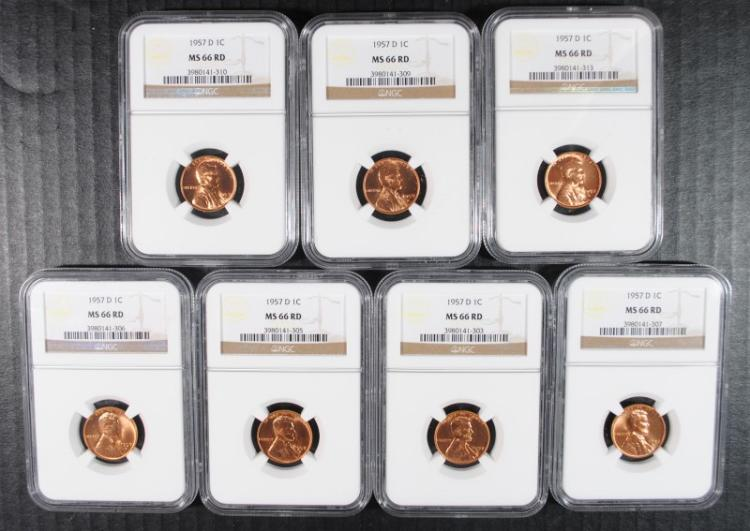 7 1957-D LINCOLN CENTS NGC MS-66 RED