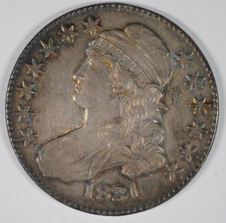 1831 BUST HALF DOLLAR, AU/BU BEAUTIFUL COLOR!