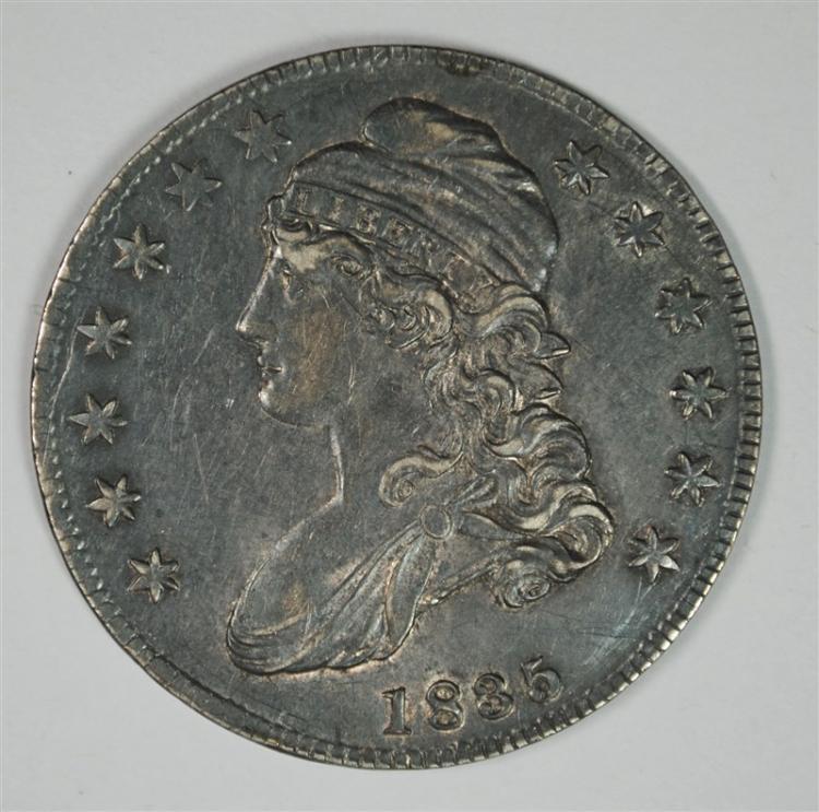 1835 BUST HALF DOLLAR AU/BU TONED