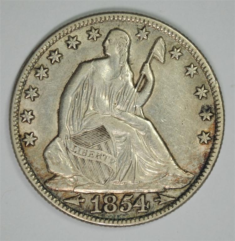 1854-O SEATED HALF DOLLAR AU