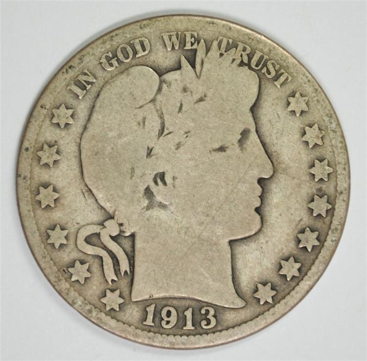 1913 BARBER HALF DOLLAR, GOOD/VG
