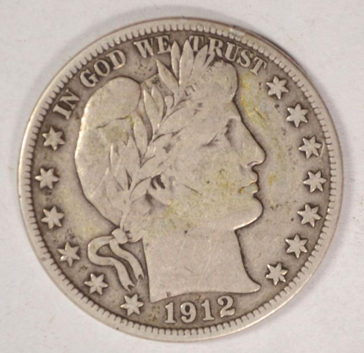 1912-D BARBER HALF DOLLAR, VF