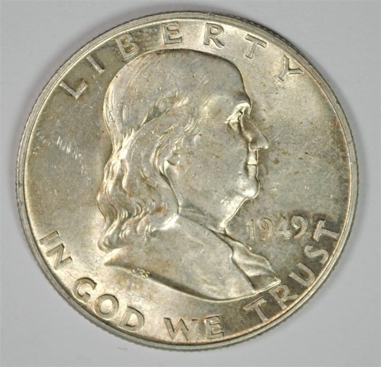 1949-D FRANKLIN HALF DOLLAR, CH BU