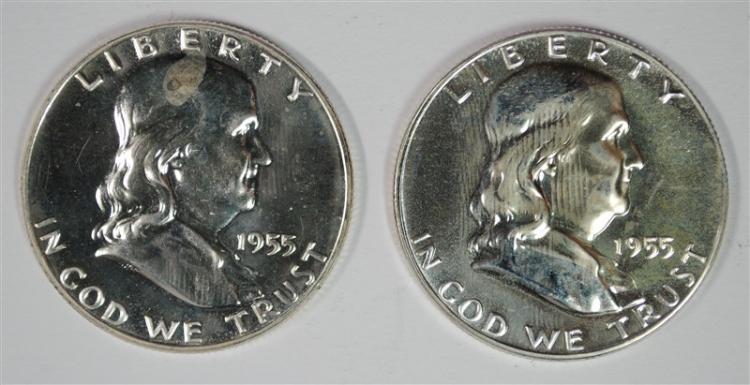 ( 2 ) 1955 PROOF FRANKLIN HALF DOLLARS, BETTER DATE