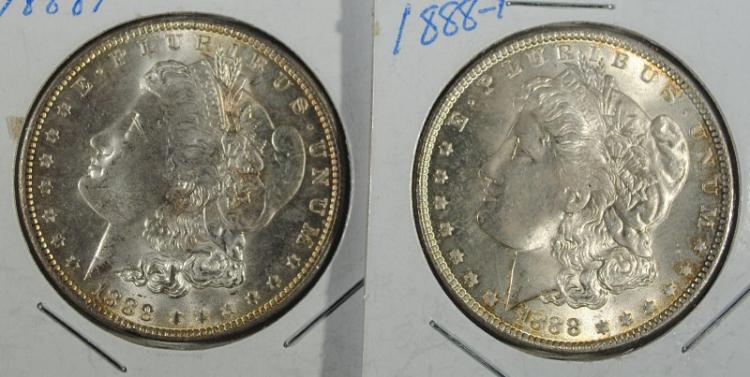 2 1888 MORGAN DOLLARS BU