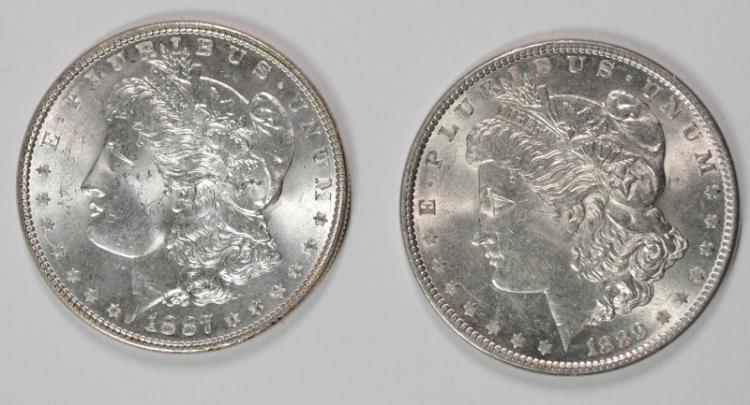 1887 & 1889 MORGAN DOLLARS CHOICE BU
