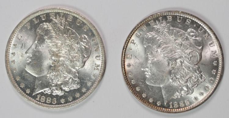 1883-O & 1885 MORGAN DOLLAR CHOICE  BU