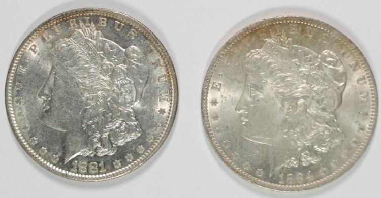 1881-S & 1884-O MORGAN SILVER DOLLARS, CHOICE BU