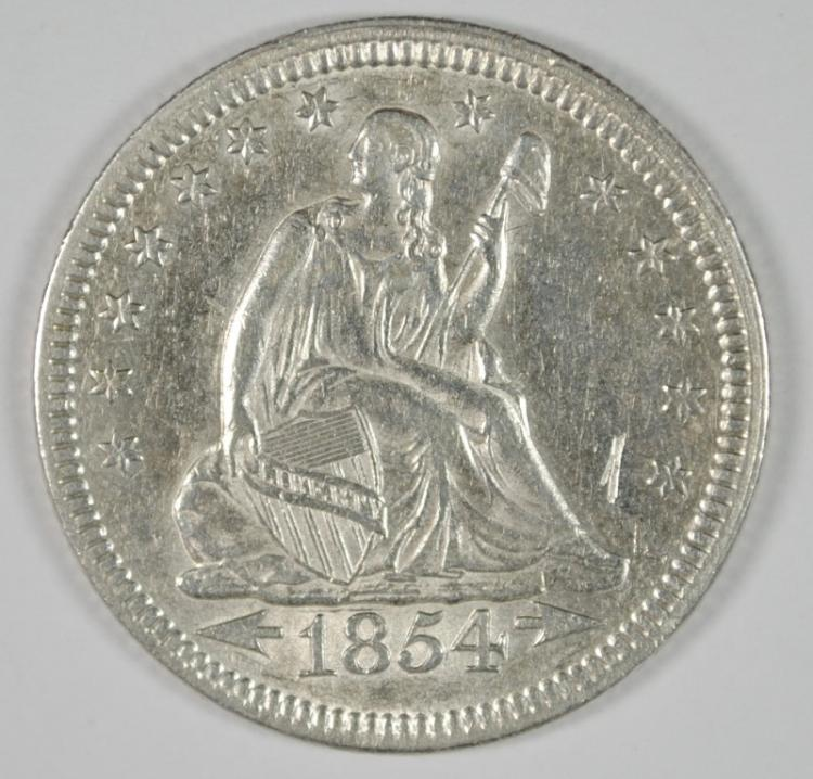 1854 SEATED LIBERTY QUARTER AU