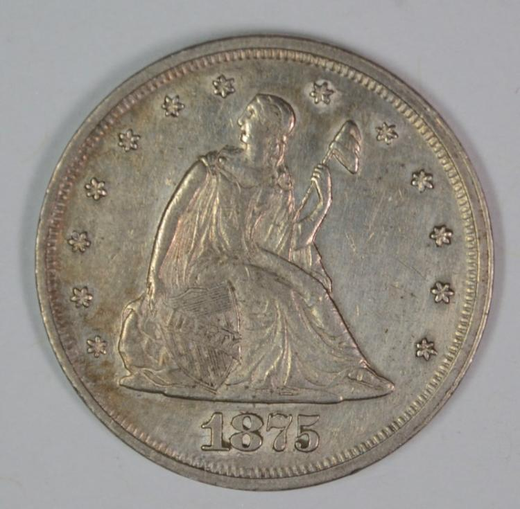 1875 TWENTY CENT PIECE, AU+  RARE DATE!