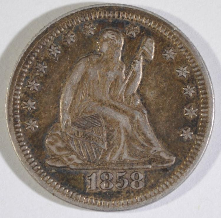 1858 SEATED LIBERTY QUARTER XF/AU NICE ORIGINAL TONE