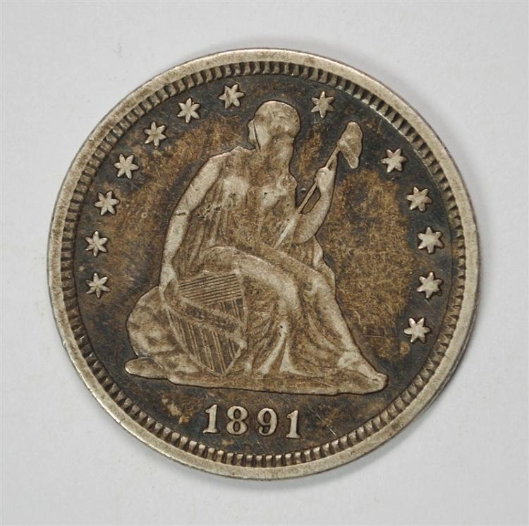 1891 SEATED LIBERTY QUARTER, AU