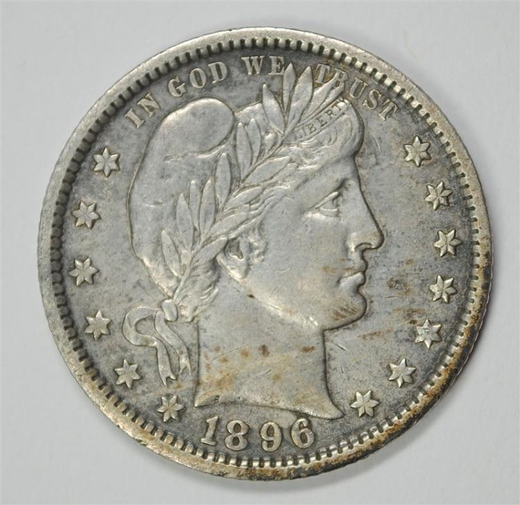 1896-O BARBER QUARTER, AU ORIGINAL RARE!!!