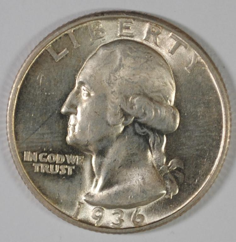 1936-D WASHINGTON QUARTER, CH BU  NICE WHITE COIN!!