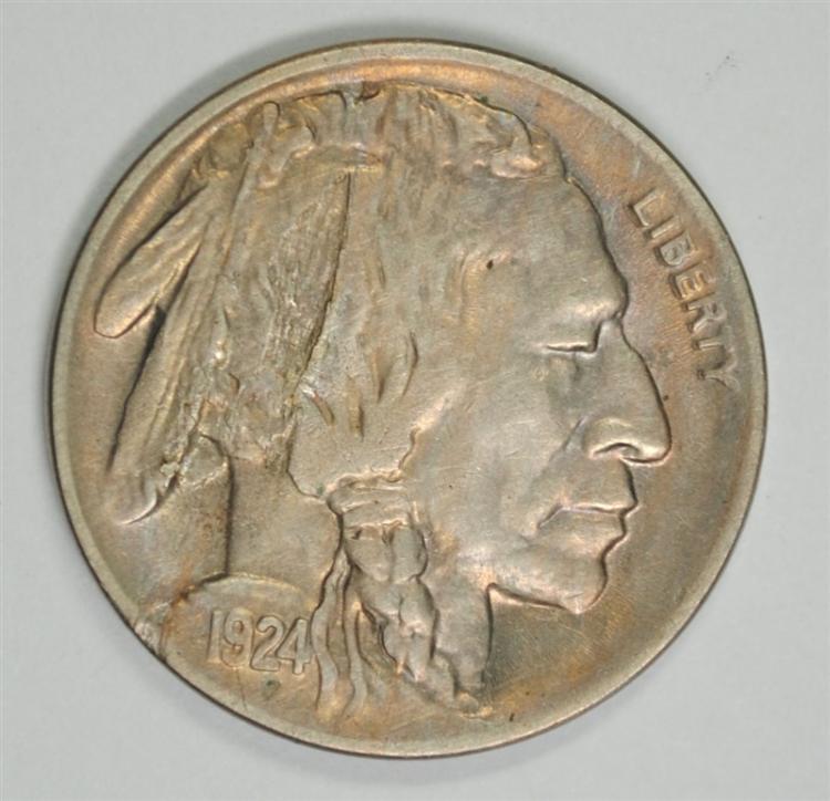 1924-D MINT ERROR BUFFALO NICKEL ( LAMINATION ) CHOICE AU