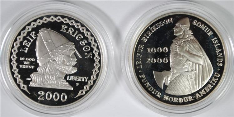 2000 LEIF ERICSON 2 COIN PROOF COMMEMORATIVE SET IN ORIG PACKAGING,  BETTER SET