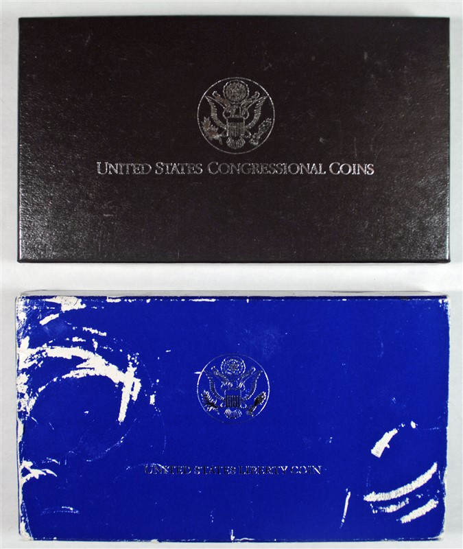 1989 BU CONGRESSIONAL 2-PIECE & 1986 PROOF STATUE OF LIBERTY COMMEM  DOLLARS