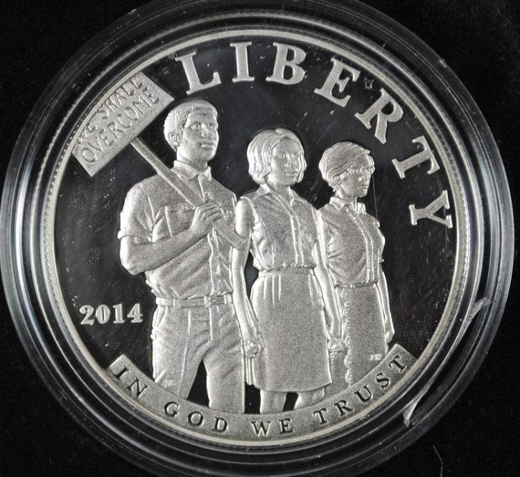 2014 CIVIL RIGHTS PROOF COMMEMORATIVE SILVER DOLLAR IN ORIGINAL PACKAGING