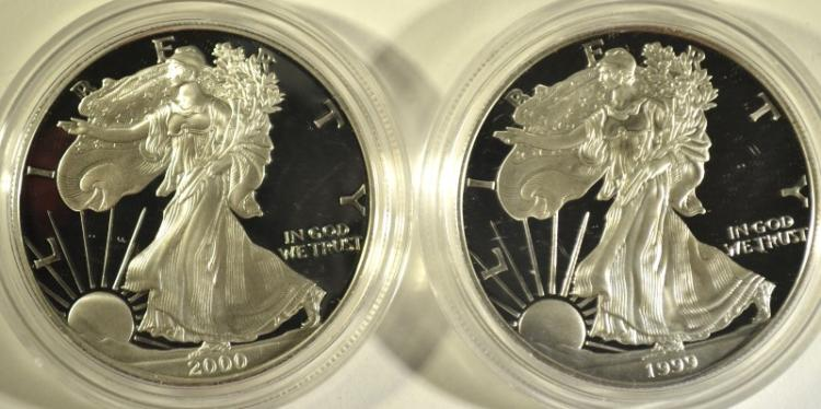 1999 & 2000 PROOF AMERICAN SILVER EAGLES WITH ORIGINAL BOXES/COA