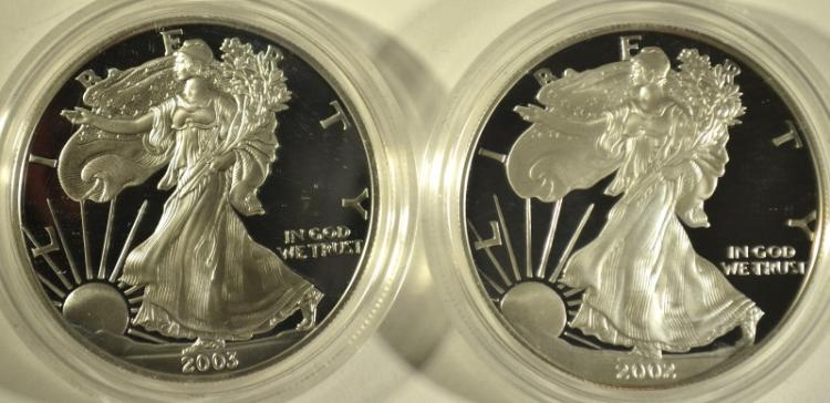 2002 & 2003 PROOF AMERICAN SILVER EAGLES WITH ORIGINAL BOXES/COA