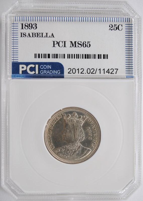 1893 COMMEMORATIVE SILVER ISABELLA QUARTER DOLLAR PCI GEM UNC VERY RARE!