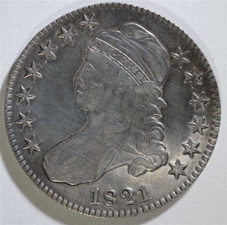 1821 CAPPED BUST HALF DOLLAR - AU CLEANED