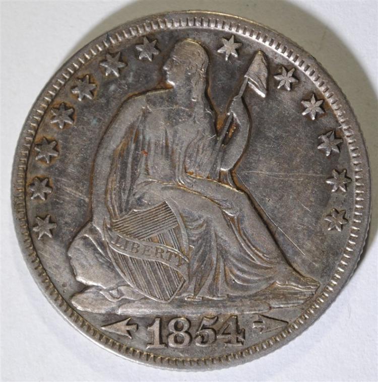 1854-O ARROWS SEATED HALF DOLLAR, XF