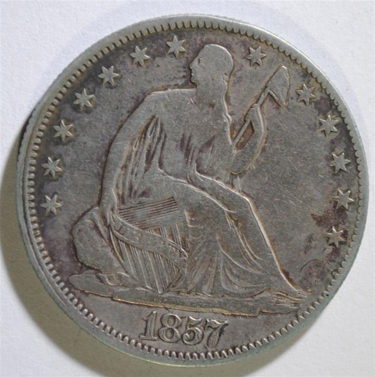 1857 SEATED HALF DOLLAR, VF  dark