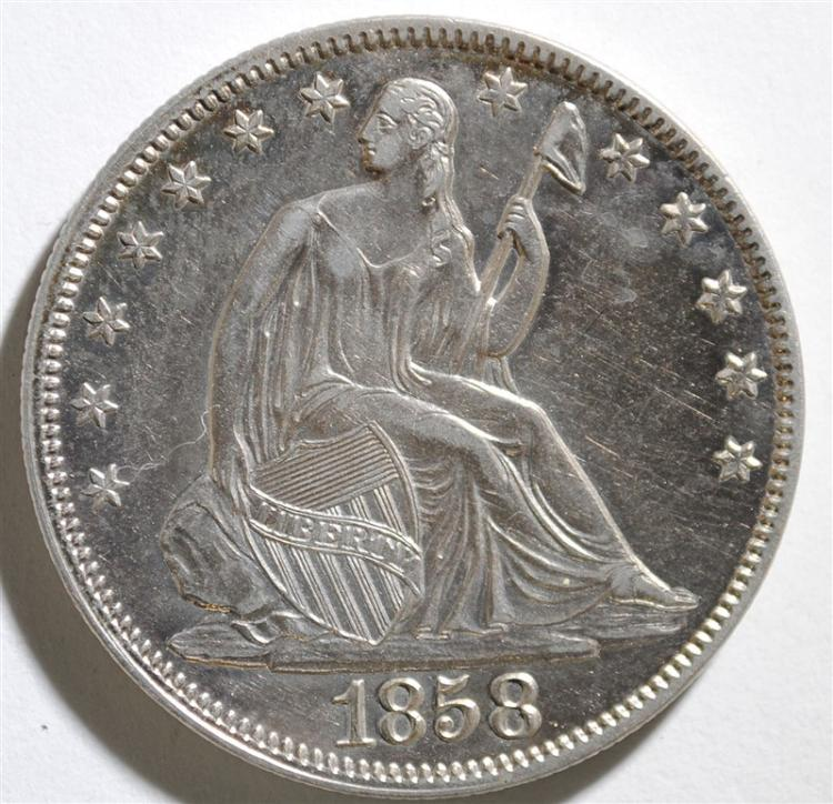 1858 SEATED HALF DOLLAR, AU/BU