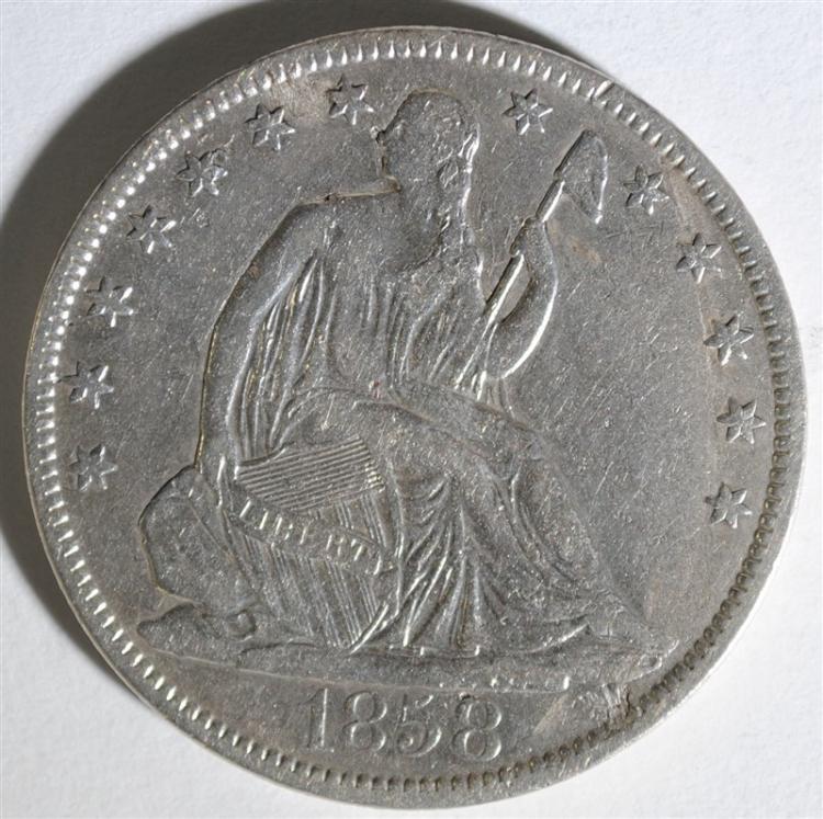 1858-O SEATED HALF DOLLAR, XF/AU