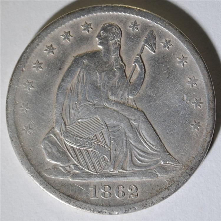 1862-S SEATED HALF DOLLAR, XF  KEY DATE