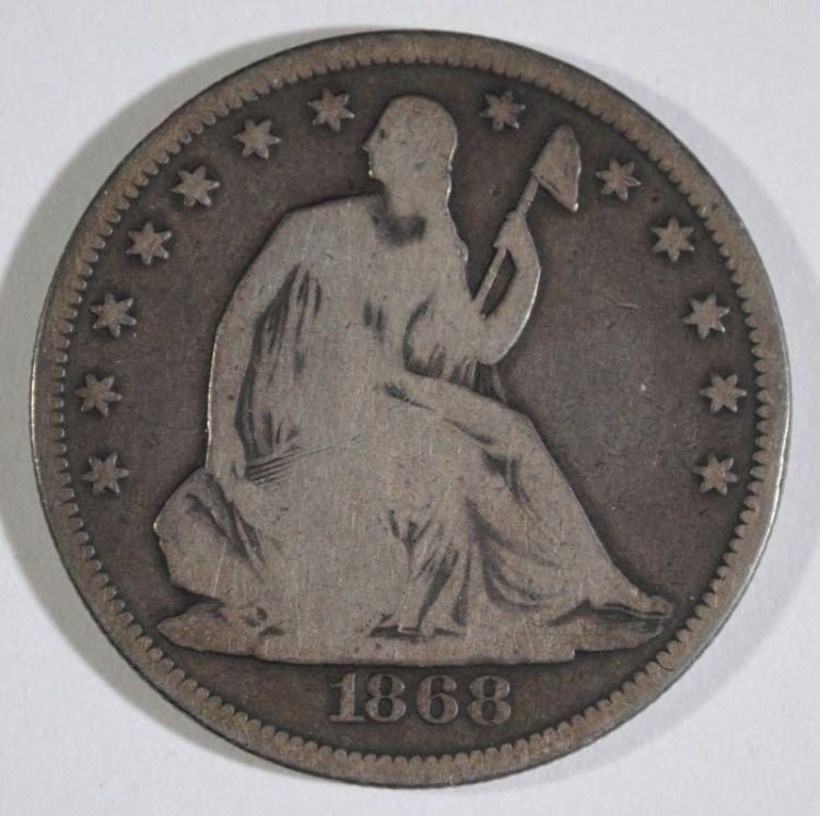 1868 SEATED HALF DOLLAR, VG
