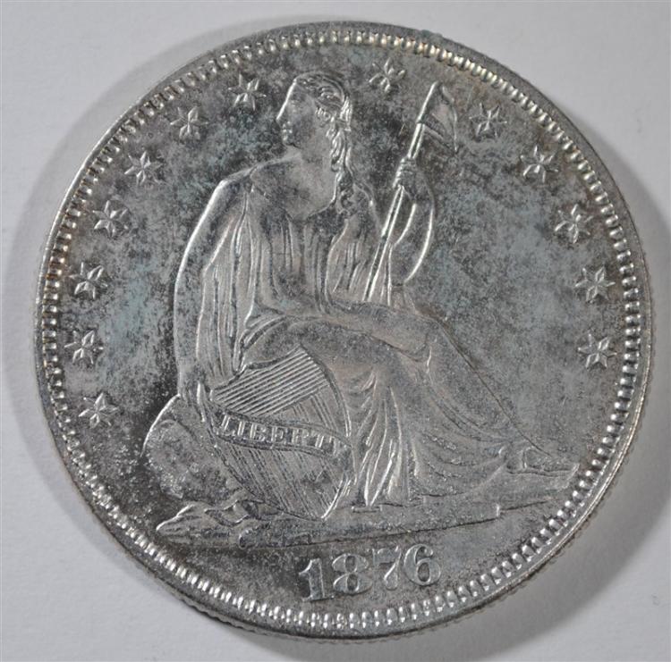 1876 SEATED HALF DOLLAR, AU