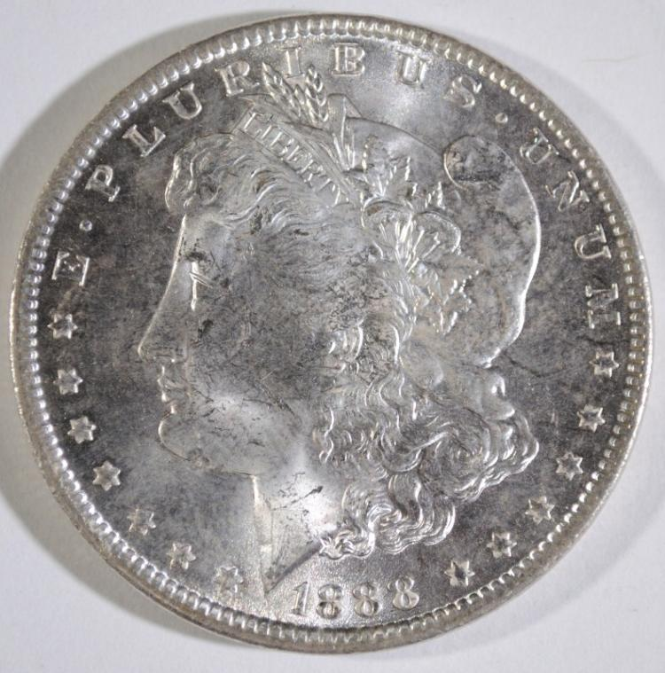 1888 MORGAN SILVER DOLLAR, CHOICE BU