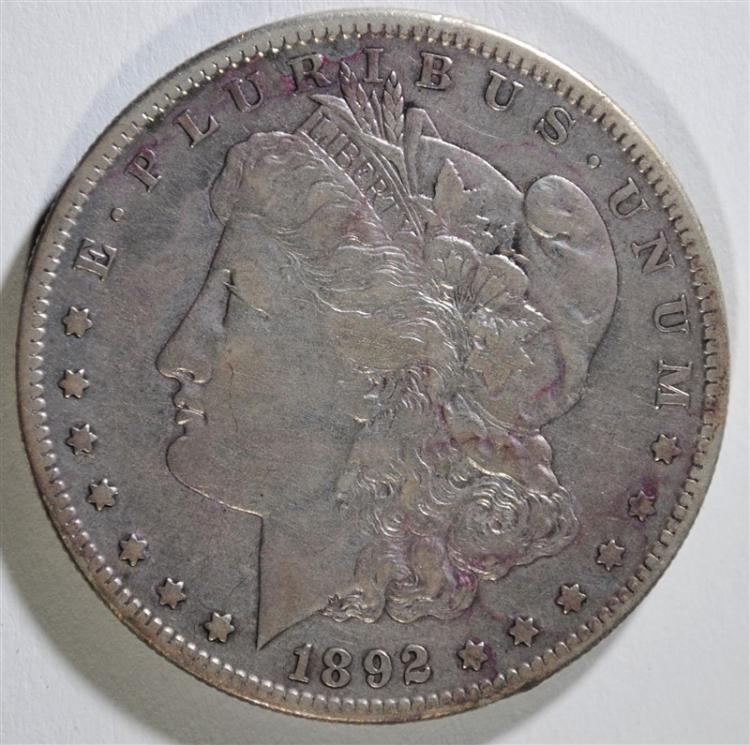 1892-S MORGAN SILVER DOLLAR, XF KEY DATE