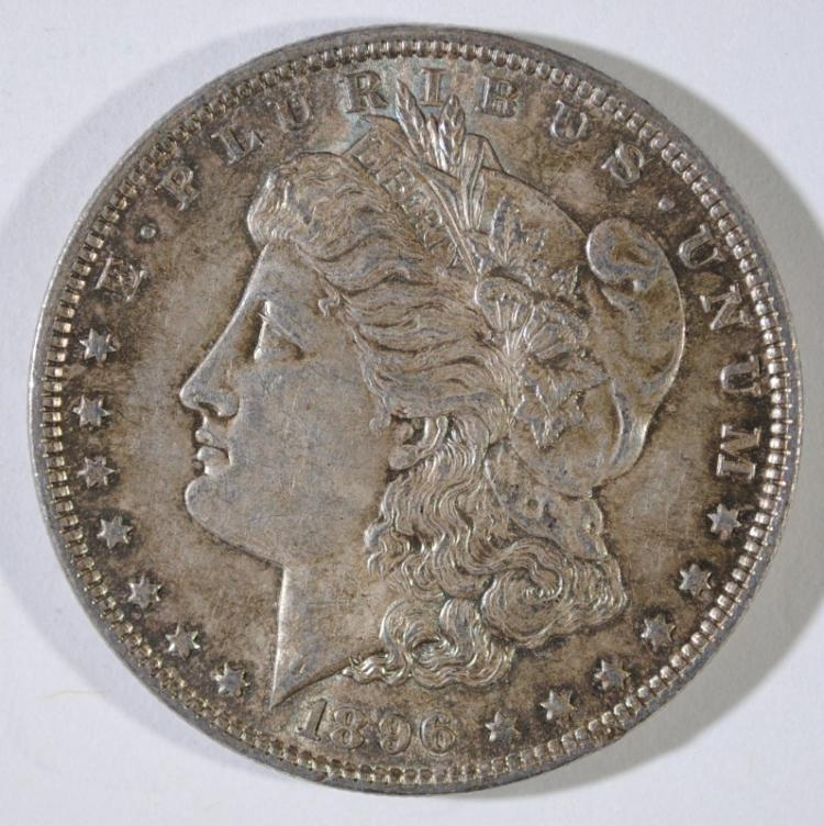 1896 MORGAN SILVER DOLLAR, GEM BU+ RAINBOW COLORS!
