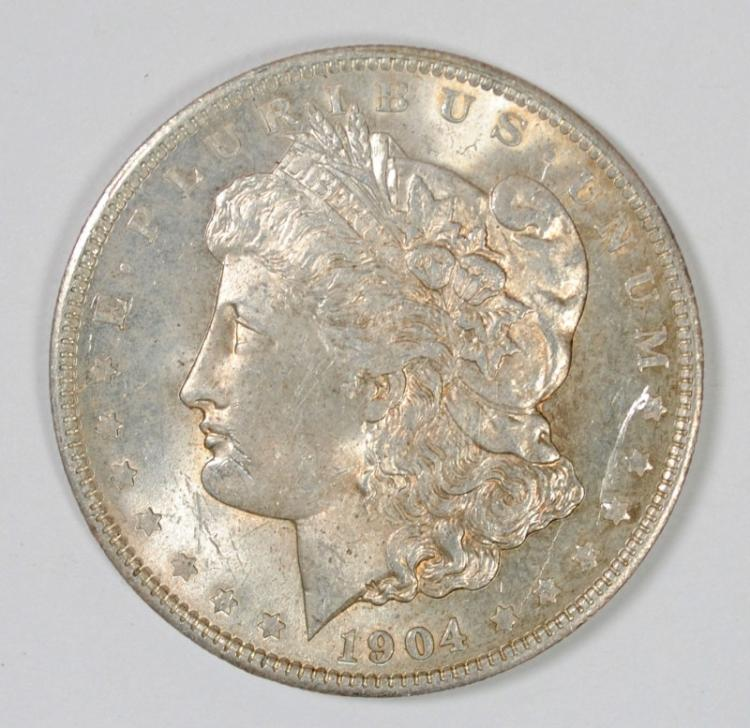 1904-O MORGAN SILVER DOLLAR - CHOICE BU+