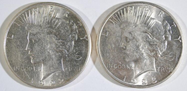 1922-S & 1923-S PEACE SILVER DOLLARS, CHOICE BU