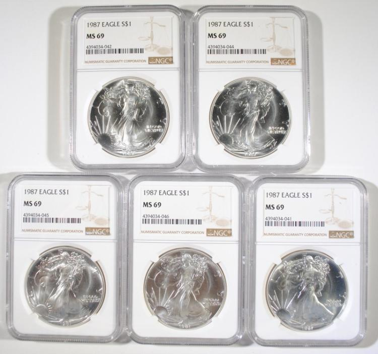 ( 5 ) 1987 AMERICAN SILVER EAGLES,  NGC  MS-69