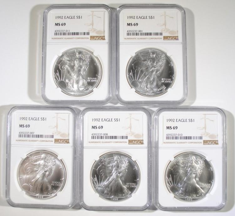 ( 5 ) 1992 AMERICAN SILVER EAGLES,  NGC  MS-69