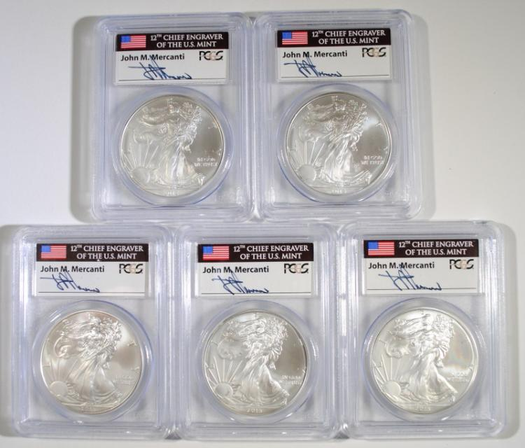 5-2013 AMERICAN SILVER EAGLES, PCGS  MS-69 FIRST STRIKE,  MERCANTI SIGNED