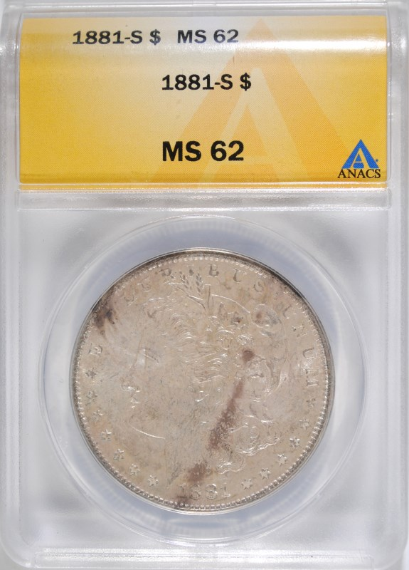 1881-S MORGAN DOLLAR ANACS MS-62