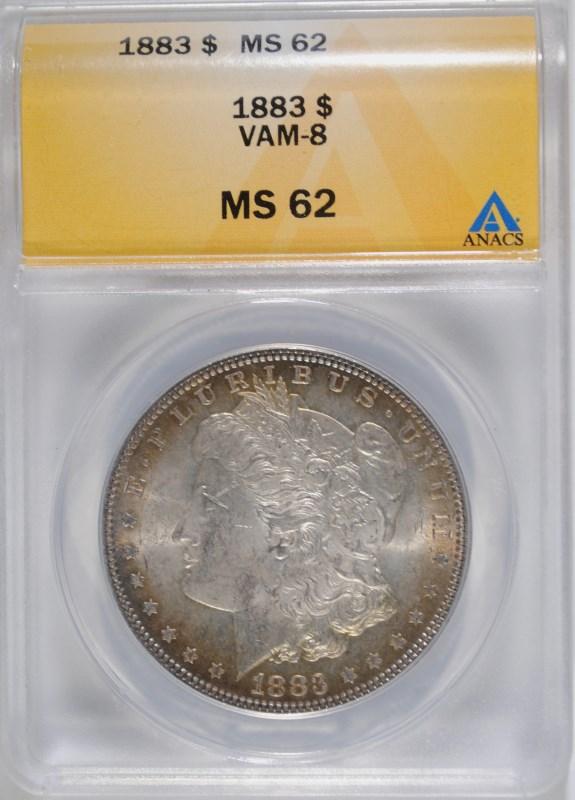 1883 MORGAN DOLLAR ANACS MS-62 VAM -8