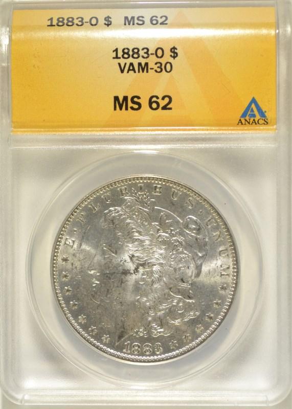 1883-O MORGAN DOLLAR ANACS MS-62 VAM-30