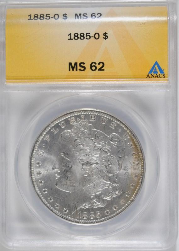 1885-O MORGAN DOLLAR ANACS MS-62