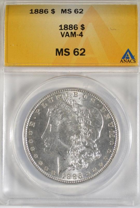 1886 MORGAN DOLLAR ANACS MS-62 VAM-4