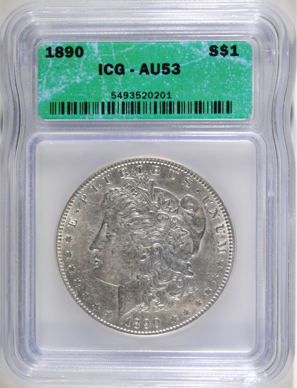 1890 MORGAN DOLLAR ICG AU-53