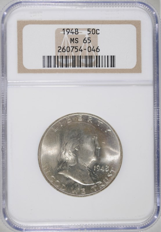 1948 FRANKLIN HALF NGC MS-65