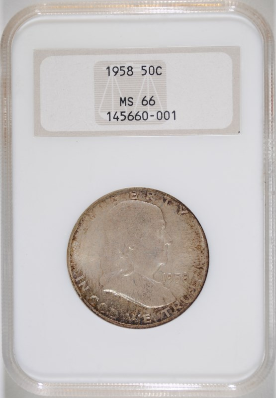 1958 FRANKLIN HALF NGC MS-66